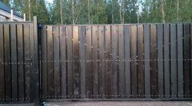 откатные ворота с заполнением деревом